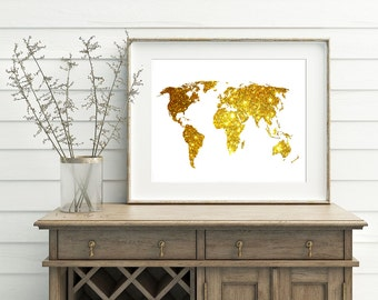 Glitter Gold World Map - Gold World Poster, Glitter World Wall Decor, Bling World Map, Golden World Map, Digital Download, Sparkle Map