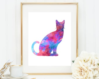 Watercolor Cat Art, Acrylic Cat Print, Cat Painting, Purple Blue Cat Artwork, 3d Cat Art, Abstract Cat Art, Nursery Cat Art, Nursery decor