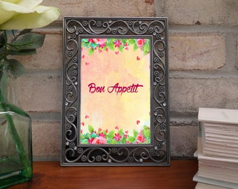 Bon Appetit quote, french quotes, Enjoy your meal , french art quote, pink art quote, floral french, floral quotes, digital quotes