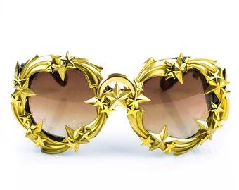 Golden Brass Star Galaxy Celestial Fashion Round Sunglasses