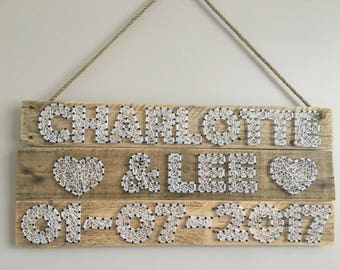 Made To Order. Wedding name and date string wall art, Wedding Gift, Handmade,