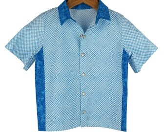 Boys Retro shirt, blue