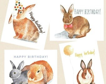 Set of 4 Bunny Birthday Cards, Bunny Cards, Happy Birthday Cards, Watercolor Bunny Cards, Rabbit Birthday Cards