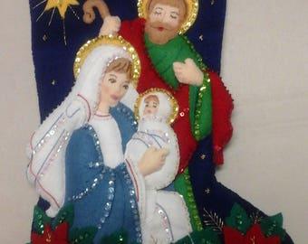 "18"" Felt Christmas Stocking - The Holy Family"