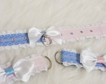 Two Tone Blue and Pink BDSM Collar and Cuff Set