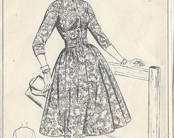 "1950s Vintage Sewing Pattern B32"" DRESS (R429) Woman W383"