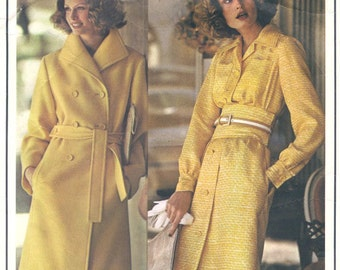 1973 Vintage VOGUE Sewing Pattern B34 DRESS & COAT (1520R) Christian Dior
