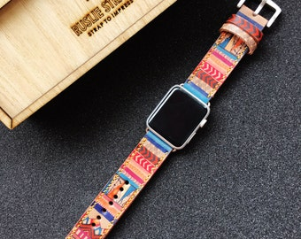 Apple Watch Band Hand-Stitched Handmade, Series 1 Series 2, 42mm or 38mm Apple Watch Leather