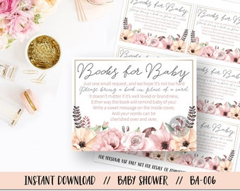 Baby Shower Books for Baby Insert, Floral Baby Shower Books for Baby, Baby Shower Insert, Watercolor Flower Baby Shower