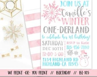 Winter Onederland Invitation, One-derland Birthday Invitation, Winter 1st Birthday Invitation, Onederland Party, Pink Silver Aqua Onederland