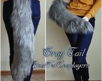 Gray Tail. Handmade Tail.