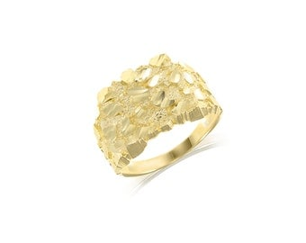 10K Solid Yellow Gold Nugget Ring - Square Diamond Cut Polished Finger Band
