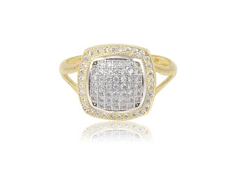 10K Solid Yellow Gold Cubic Zirconia Square Cluster Ring Size 4-10 - Polished Finger Band