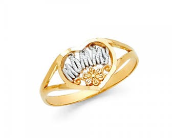 14K SOLID YELLOW WHITe GOLD Heart Mommy Ring - Flower Mom Mother Band Women's
