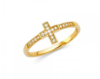 14K Solid Yellow Gold Cubic Zirconia Cross Ring - Polished Sideways Finger Band