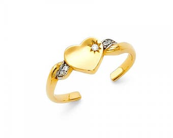 14K Solid Yellow White Gold Cubic Zirconia Heart Toe Ring Adjustable - Love Band