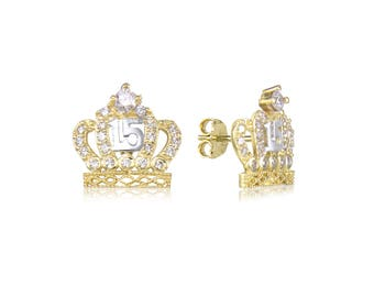 10K Solid Yellow Gold Cubic Zirconia Crown Sweet 15 Stud Earrings - Quinceanera Anos Birthday Women's