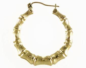 10K Yellow Gold Round Bamboo Hoop Earrings - Door Knocker Pair (2)