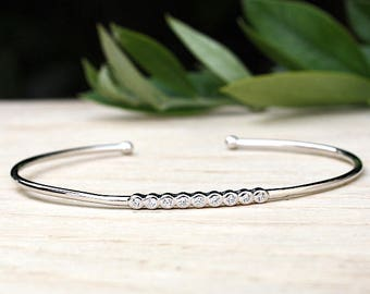Bracelet end ring Silver 925 combined with zirconium stones
