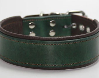 Handcrafted Leather Dog Collar- Dog lovers  100% Real Leather -Quality Leather Dog Collars 1 & 1/2 inch wide+