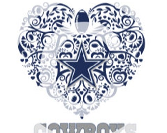 Dallas Cowboys Ornate Heart SVG File