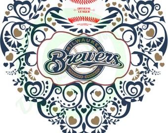 Milwaukee Brewers - Baseball Ornate Heart