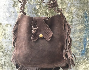 Fantastic hancrafted suede fringe bag