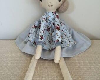 Handmade darling doll pale blue floral