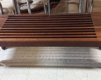 MCM Vintage Mid-century Modern Teak Slat Bench on Wheels