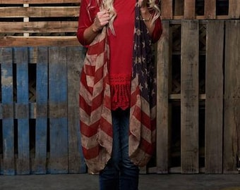 READY TO SHIP, American flag vest, Proud to be, Flag, Vest, Cover up, American Flag, Women's fashion, Fashion, Vintage flag
