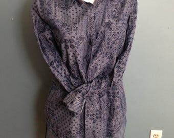 Blue blouse, floral blouse, button front blouse, size L, long sleeve blouse, Indian print shirt