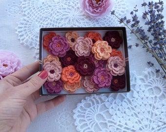 Crochet flowers/flowers for scrapbooking/flowers for headbands/flowers for planners/flowers for cardmaking/flowers for boutiqu