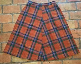 Orange Plaid Wool Skirt