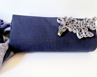 Unique Modern Classy Navy Blue and Silver Clutch Purse, Dark Blue Cocktail Clutch, Gift For Mom, Trendy Special Occasion Clutch Bag