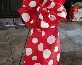 Big Beautiful Red and White Polka Dot Decorative Bow Accent Topper