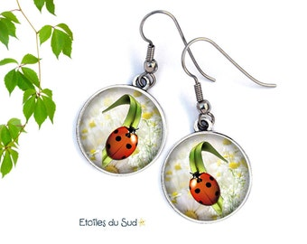 Ladybugs, silver, surgical steel, resin ref.260 cabochon earrings
