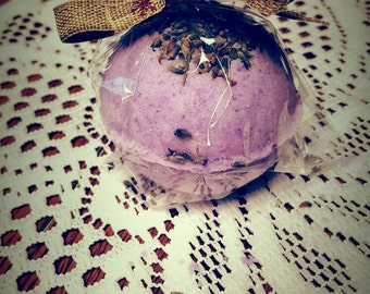 Lavender vanilla  bath bomb with French lavender buds, relaxing, stress reducing bath,  treat yoself!
