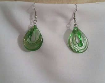 Green Glass Earrings Costume Jewelry Fashion Accessory