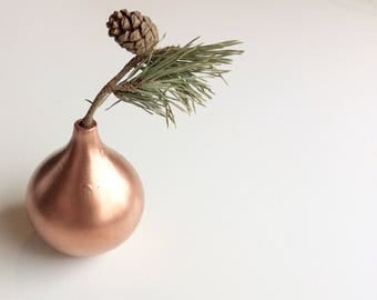 Rose Gold Bud Vase Ornament - Drip Detail Metallic Minimalist Geometric Upcycled Style Gift