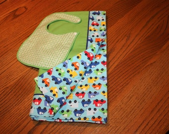Flannel Cotton Baby Blanket with Bib