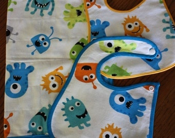 Monster Flannel Cotton Burp Cloth and 2 Monster Bibs Set