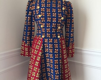 Blue & Red African Print Dress (Size 12 US)
