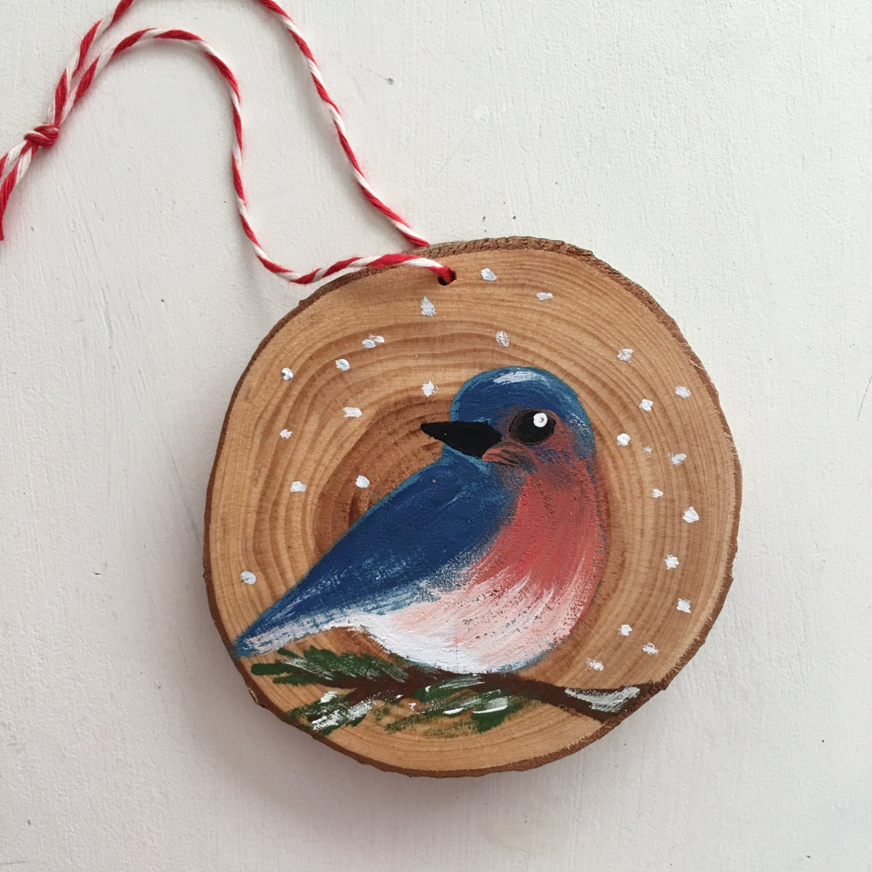 Bluebird Hand Painted Christmas Ornament Wood Slice Ornament