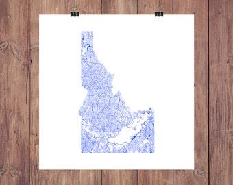 Idaho Map - High Res Digital Map of Idaho Rivers / Idaho Print / Idaho Art / Idaho Poster / Idaho Gift / Idaho Wall Art / Idaho Map Art