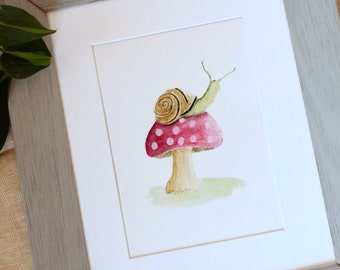 Mushroom Decor, Whimsical Nursery, Kids Art, Watercolor Illustration, Woodland Nursery, Woodland Animal, Kids Room Art,  Whimsical Print