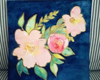 """WATERCOLOR Flowers """"Pink Peonies and rose"""" Original art floral painting w/ Pink Peonies and a Rose surrounded by Leaves // size: 20.5x19.5cm"""