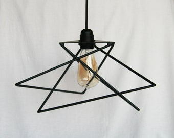 Ceiling light with nested big triangles, black metal, retro industrial style light bulb