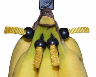 The Banana Bungee; a unique banana holder that can also hold a single banana!