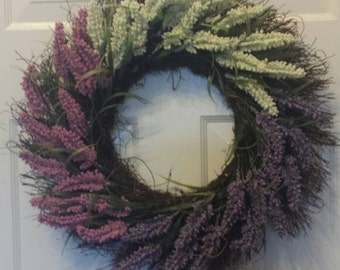 Spring wreath / front door wreath / door wreath / holiday wreath / lavender/ pink, white, purple/easter wreath/summer wreath