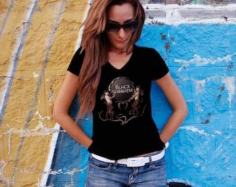Black Sabbath Women T-shirt Black Sabbath V Neck  Tshirt Black Sabbath Women Shirt Black Sabbath Tee Rock T-shirt Model 8